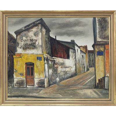 Ronald W. Chatelot (1922-) Downtown Scene Oil on Canvas