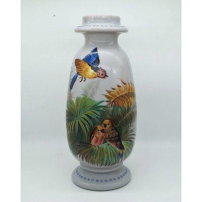 Hand Painted Victorian Milk Glass Vase