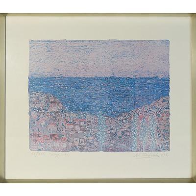 Artist Unknown (Greek) Oceanside Town, Offset Print Edition 18/115