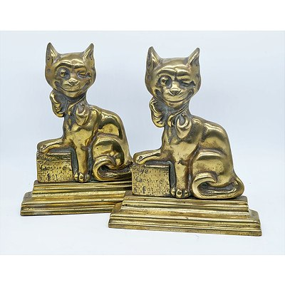 Pair Antique Brass Cheshire Cat Bookends