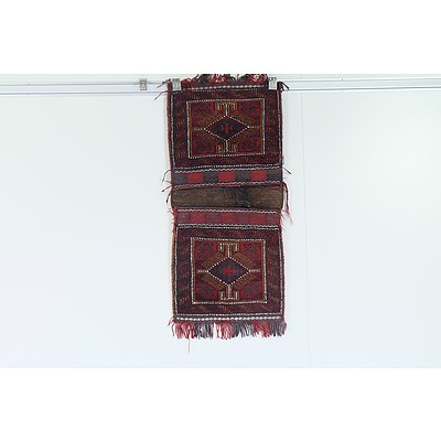 Eastern Hand Knotted Wool Pile Saddle Bag