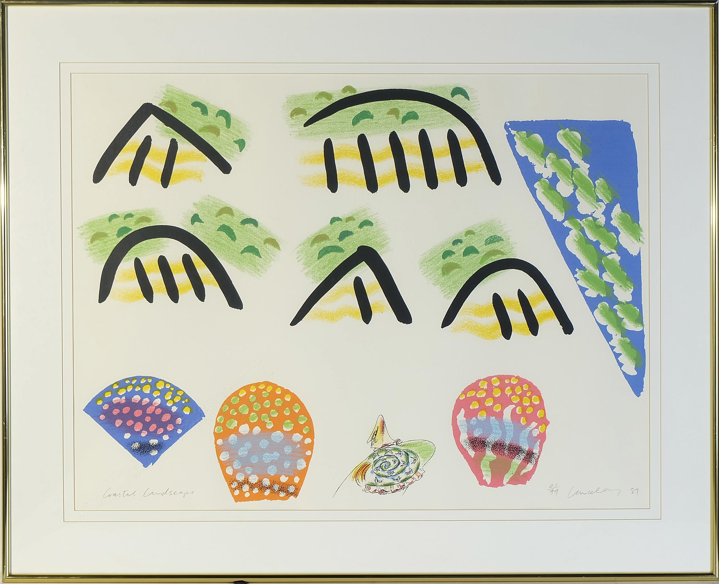 'Colin Lanceley (1938-2015) Coastal Landscape Screen Print Edition 21/99'