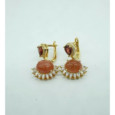 Silver Gold plated Earrings with Sunstone Cubic Zirconia and Garnet