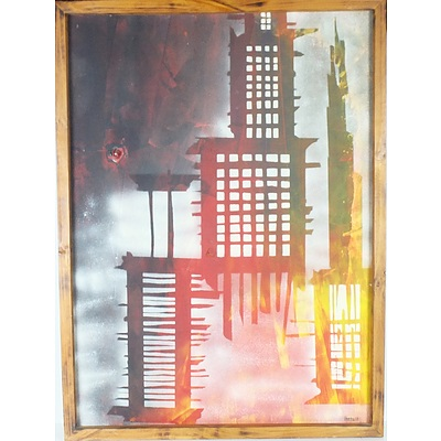 Gary Batchelor Cityscape and Christ Dula Sided Mixed Media
