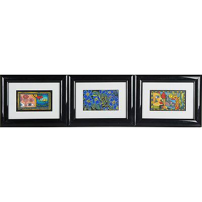 Three Original Oil and Ink Works