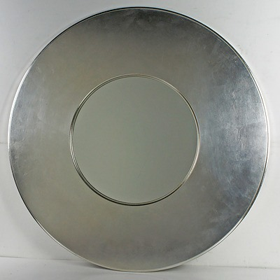 Contemporary Oval Painted Silver Framed Mirror