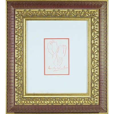 Andy Warhol (1928-1987) Crayon Sketch of Tulips