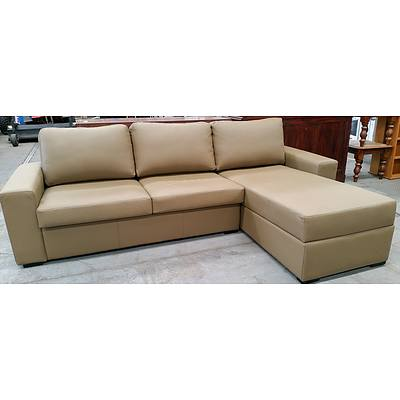 Leo Furniture Three Seater Leather Chaise Lounge with Sofabed