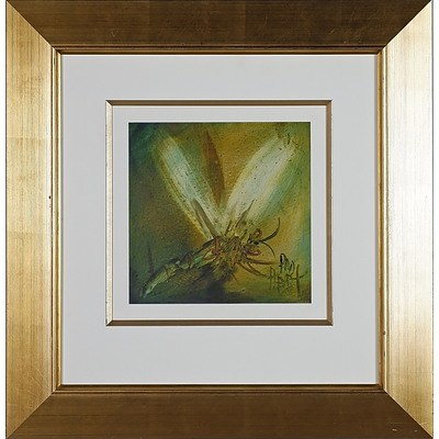 Pro Hart (1928-2006) Dragonfly No 4 Oil on Board