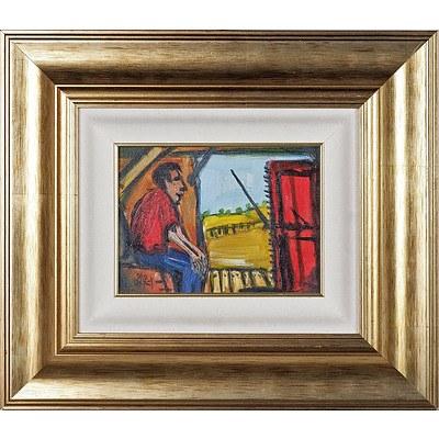 Pro Hart (1928-2006) The Wool Press Oil on Board