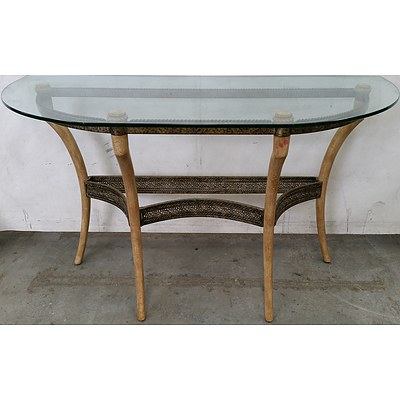 Hollywood Regency Style Glass Topped Console Table