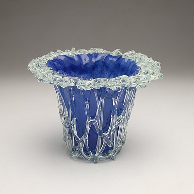 Peter Crisp Slumped Blue Glass Vase with Fuzed Clear Glass Trailing and Rim