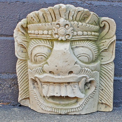 Carved and Moulded Composite Balinese Style Demon Wall Mask