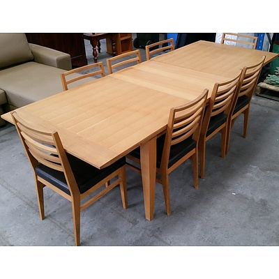 Contemporary Ash Nine Piece Extension Dining Setting