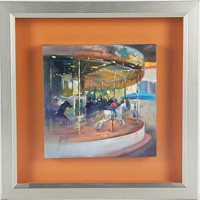 Robert Knight (1953 -) Carousel Oil on Canvas