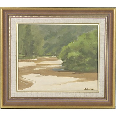 Don Gallagher (1926-2017) Gums by the Riverbank Oil on Board