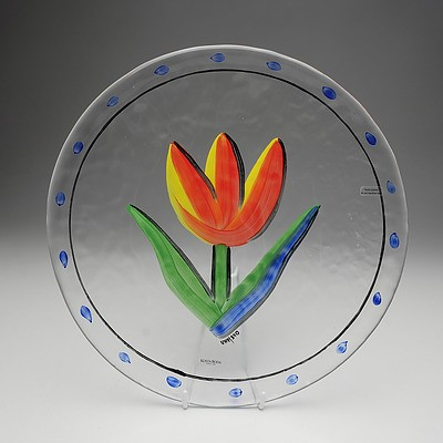 Kosta Boda Hand Painted Glass Plate with Tulip Motif