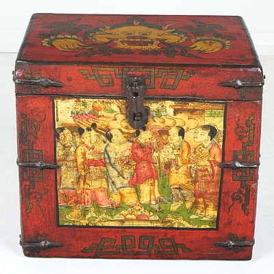 Chinese Polychromed Lacquered Painted Box