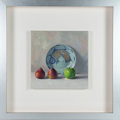 Crispin Akerman (1960-) Red Pears, Apple, Fish Plate Oil on Canvas
