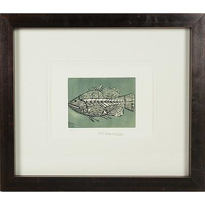Glen Namundja (Arnhem Land 1963-) Barramundi Limited Edition Engraving 20/100