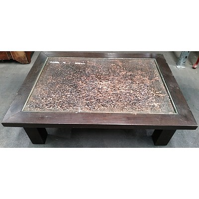 Mixed Media Coffee Table With Glass Top