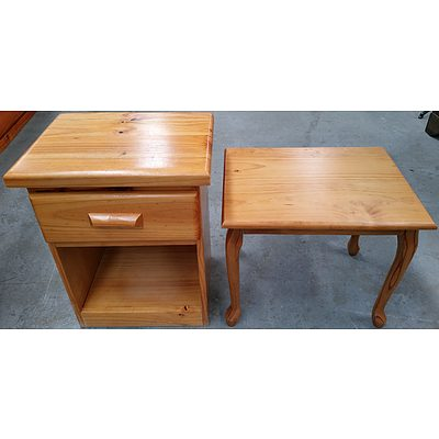 Pine Bedside and Occasional Table