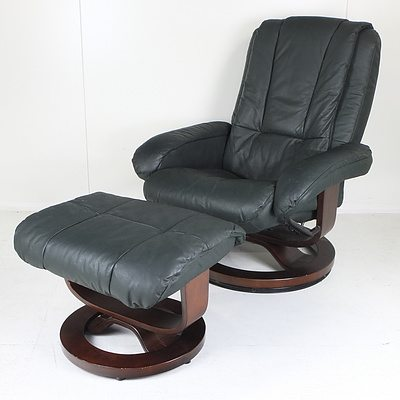 Green Faux Leather Swivel Armchair with Footstool