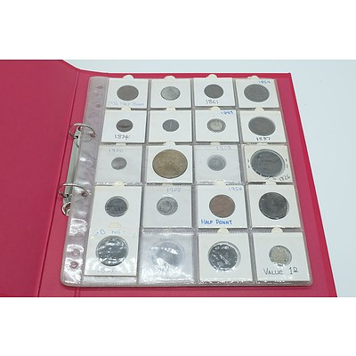 Collection of Various Foreign Coins Including 1988 U.S One Cent Coin, 1936 Half Penny and More
