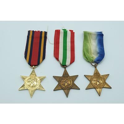 Three War Star Medals Including Bruma Star, Italy Star and The Atlantic Star