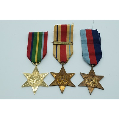 Three War Star Medals Including The Pacific Star (1941-1945), The Africa Star and The 1939-1945 Star