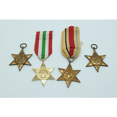 Four War Star Medals Including The Italy Star and The Africa Star