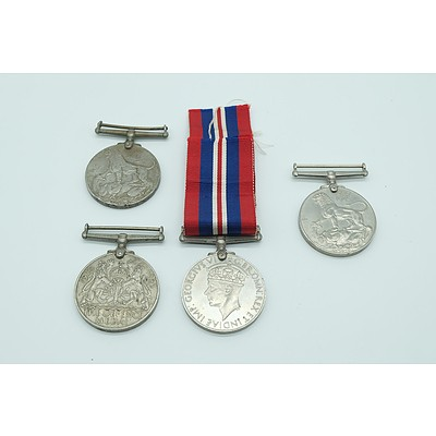 Four 1939 to 1945 Second World War Medals