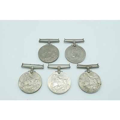 Five 1939 to 1945 Second World War Medals