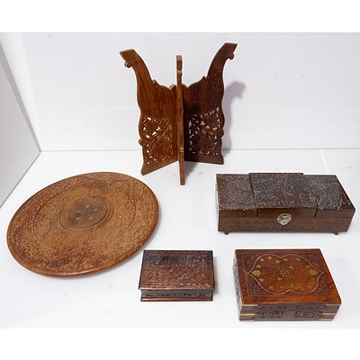 Collection of Oriental Carved Wood Stands and Engraved Boxes