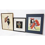 Three Japanese Geisha Figures Artworks Oil on Silk, Paper Collates and More