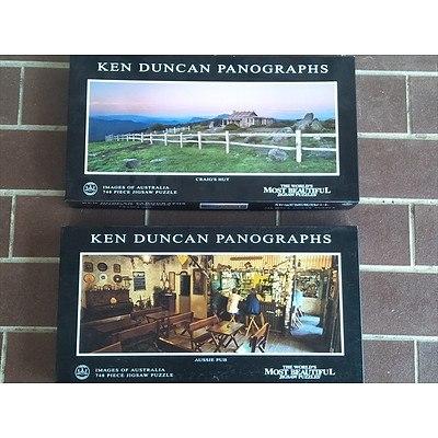 2 x Ken Duncan Panograph 748 piece jigsaw puzzles: Craig's Hut & Aussie Pub