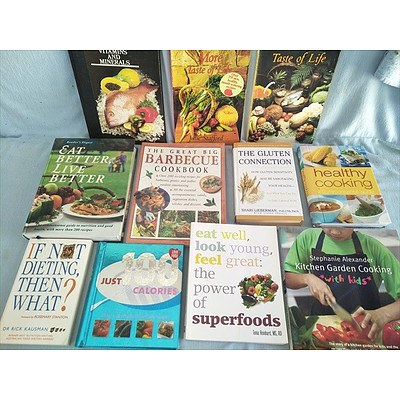 Assorted Books: Cookbooks and healthy living