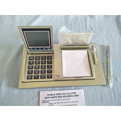 World time calculator with notepad holder and pen (NEW in box)