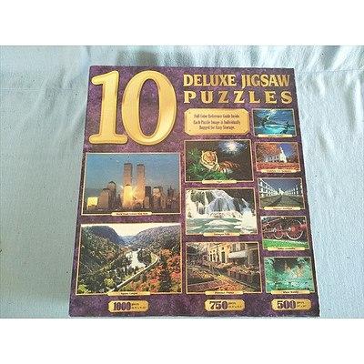 Box of 10 Deluxe jigsaw puzzles - 2 x 1000 piece 3 x 750 piece & 5 x 500 piece