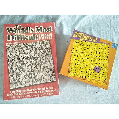 2 x The Worlds Most Difficult Jigsaw Puzzles: Dalmatians! (529 pieces - NEW) and Smiley Faces (500 pieces)