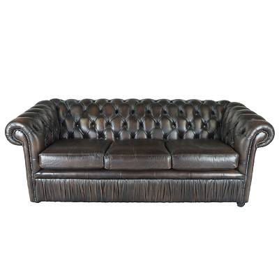 Gascoigne Brown Buttoned Leather Chesterfield