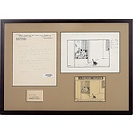 Emile Mercier (1901-81) Framed Pen and Ink Cartoon, Letter, and Clipping