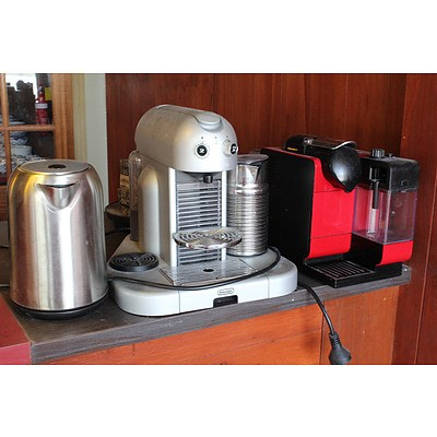 Two DeLonghi Nespresso Coffee Machine and One Cordless Kettle