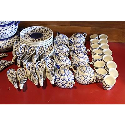 Blue Pattern Glazed Serving Ware and Crockery - Lot of 347
