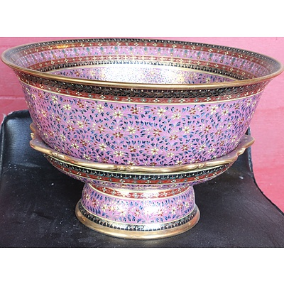 Ornate Ceramic Bowl and Stand