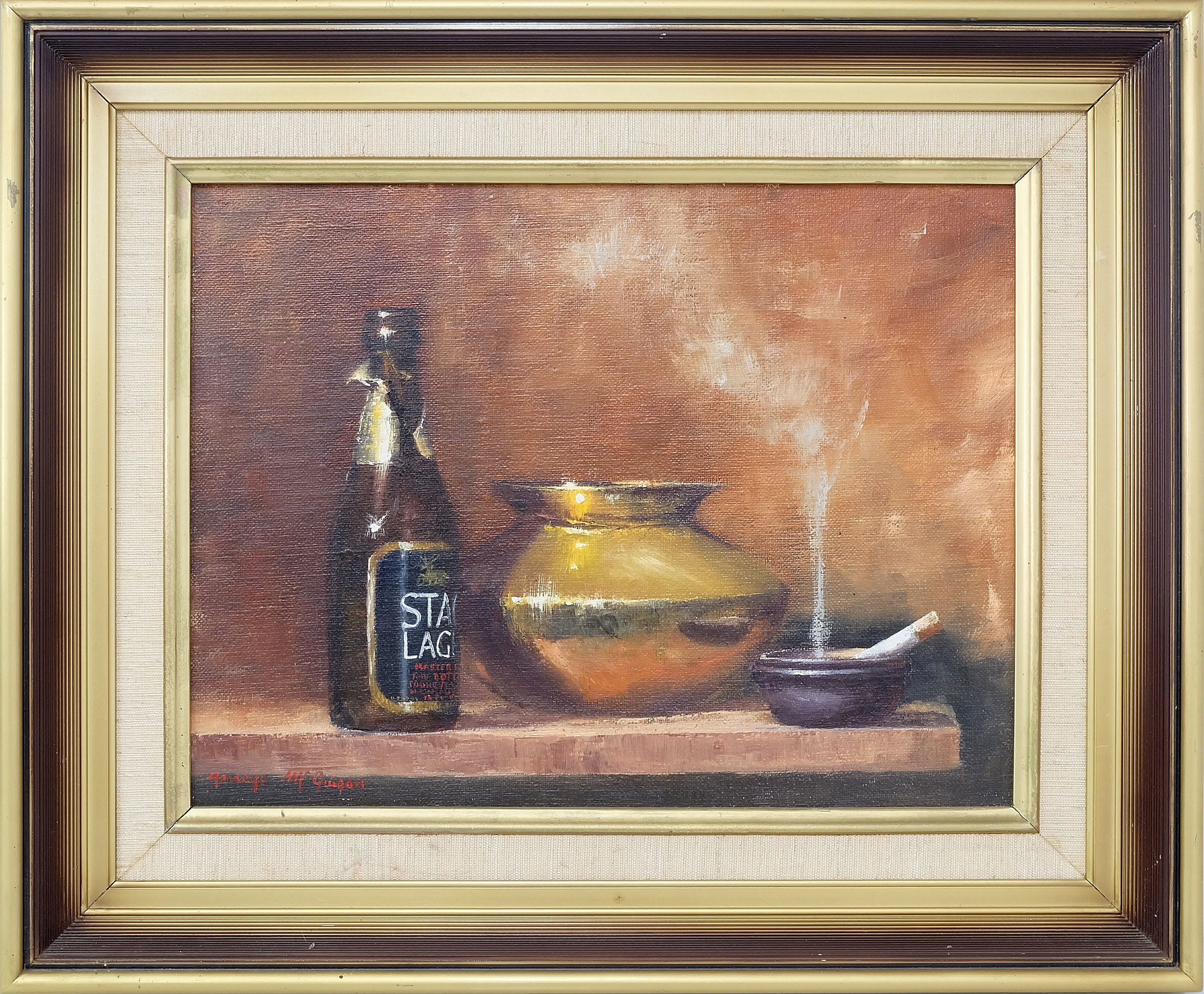 'Nancye McGuigan (1943-) Brass and Lager Oil on Canvas'