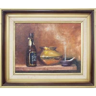 Nancye McGuigan (1943-) Brass and Lager Oil on Canvas