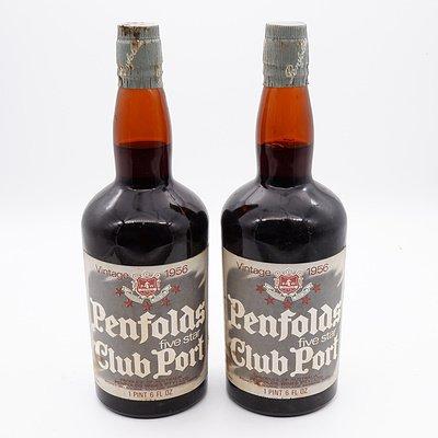 Two Bottles of Penfolds Five Star Club Port Vintage 1956 750ml