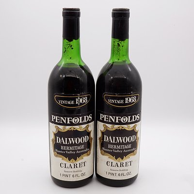 Two Bottles of Penfolds Dalwood Hermitage Claret Vintage 1968 1 Pint 6 FL. OZ.