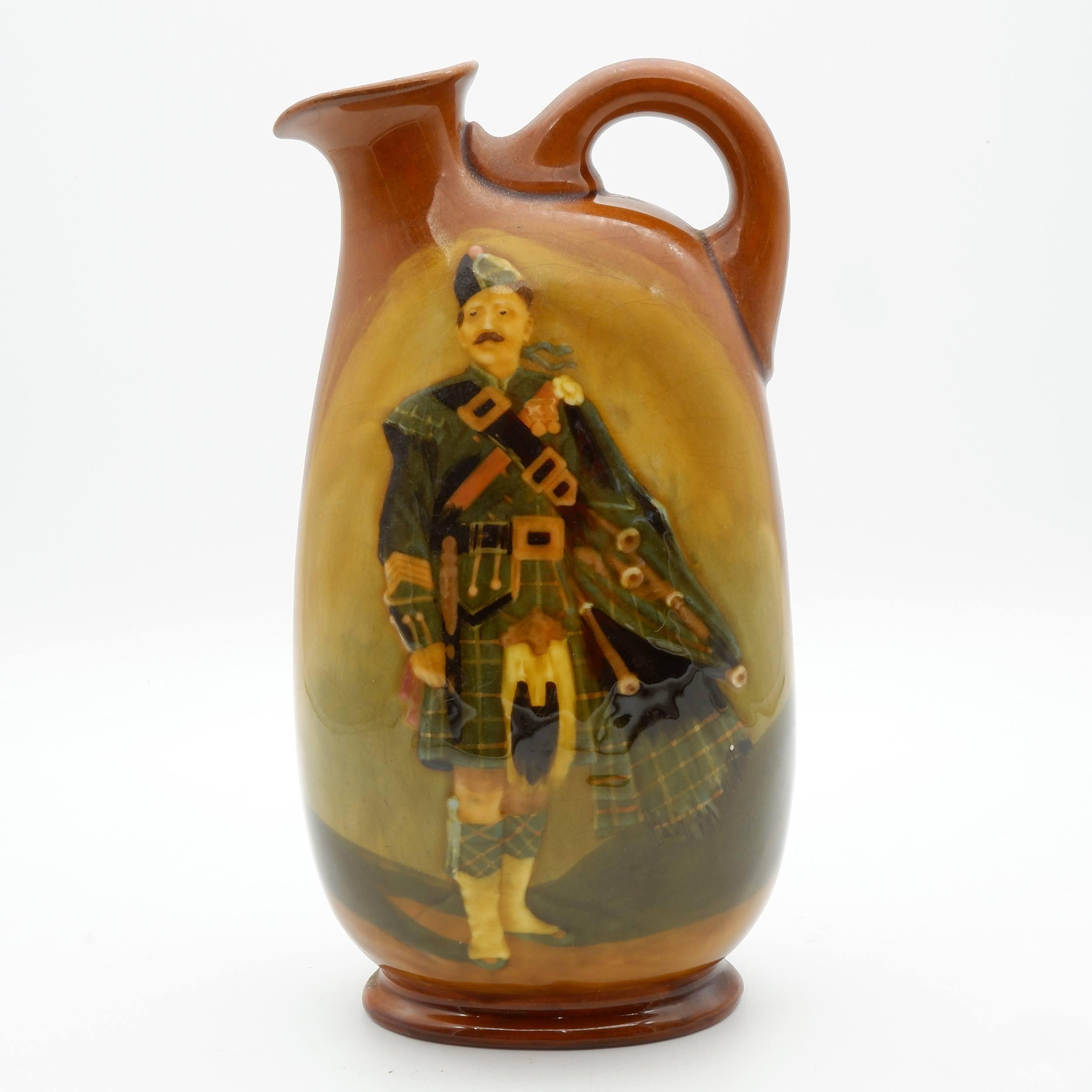 'Royal Doulton Kingsware Pipe Major Dewars Whisky Flask'